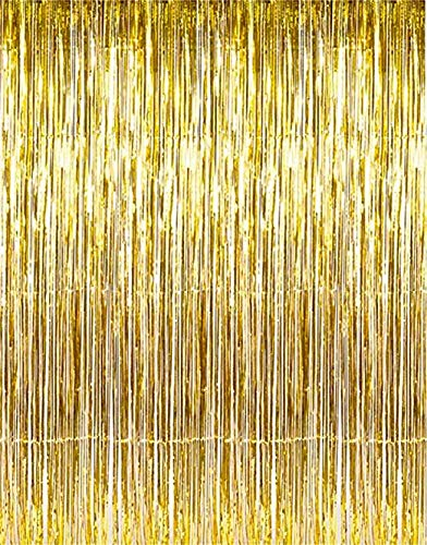 MK Trading Gold Metallic Foil Fringe Door & Window Curtain Party Decoration 3' X 8' (36