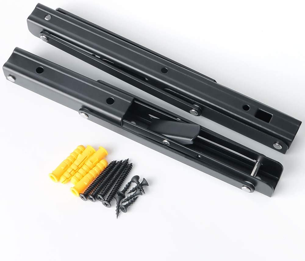 Sayayo Soporte de estante plegable Soporte de estante plegable de servicio pesado Montado en la pared 250 mm * 120 mm 3 mm de espesor de acero inoxidable mate negro 2 unidades EJZ7000B-10