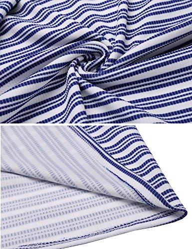 Button White Pocket Maxi 3 Striped Neck Sleeve Casual Blue Dress Front 4 Scoop ACEVOG Women gqTnYUw