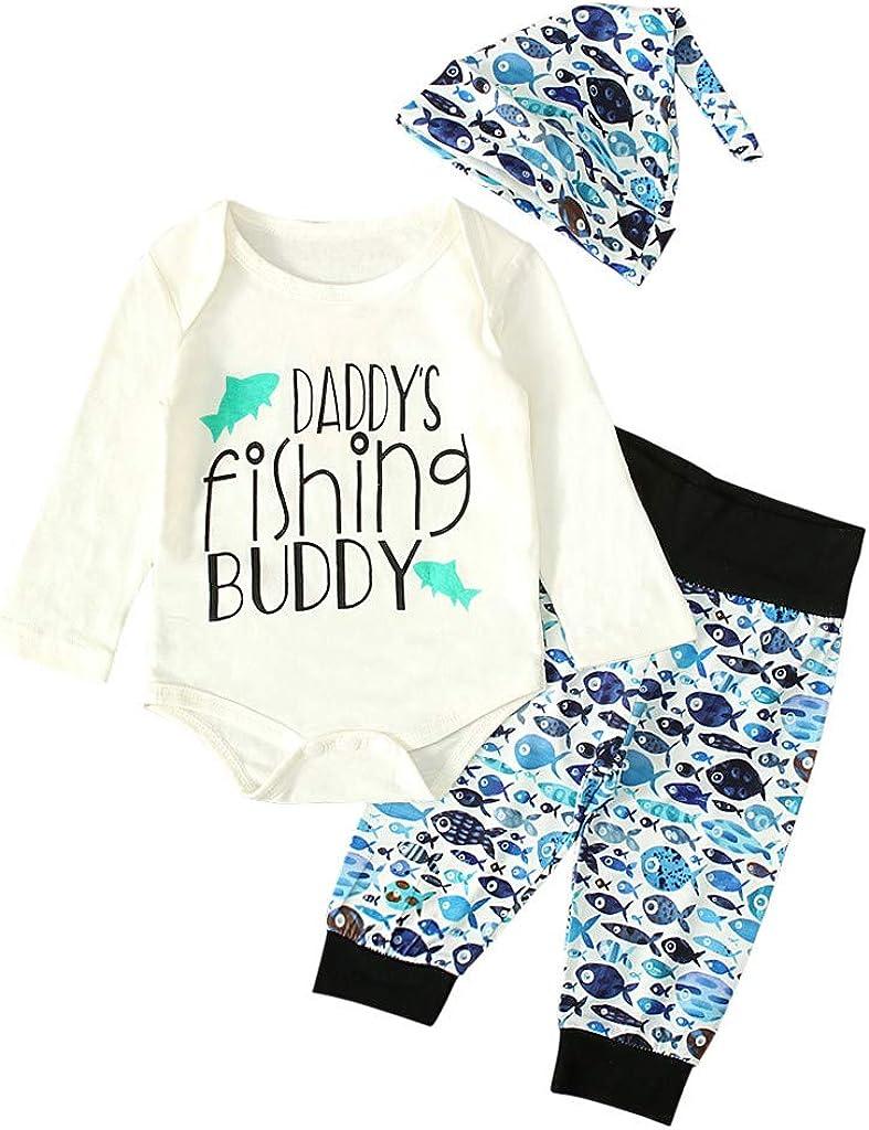 3PCS//Set Newborn Infant Baby Boy Girl Cute Letter Print Romper Tops Hat Outfits Dinosaur Pants SHOBDW Boys Clothing Sets