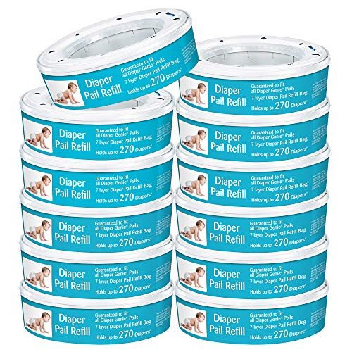 Neutrashield Diaper Pail Refill Bags, Compatible with All Diaper Genie Pails, 12 Pack, 3,240 Count