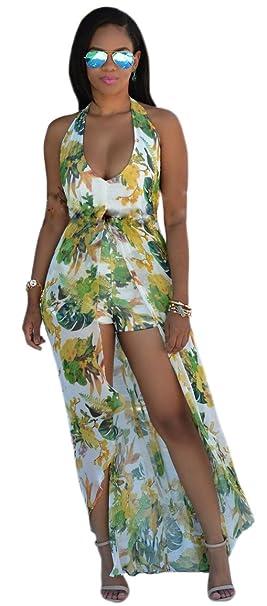 1ccf7793d6d Amazon.com  Kearia Womens Summer Sexy V Neck Halter Floral Maxi Skirt  Overlay Romper Playsuit  Clothing
