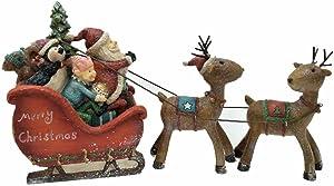 """Comfy Hour 5"""" Festive Christmas Santa Sitting in Sled Drawed by Deer, Set of 3, Red Sled Brown Deers"""