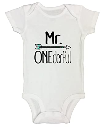 """3fb3653c7e57b Cute Birthday Onesie 1st Toddler Shirt """"Mr. Onederful"""" One Year Old Gift  Funny"""