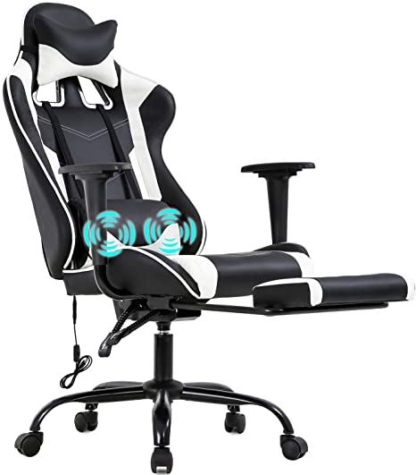 Amazon Com Pc Gaming Chair Racing Office Chair Ergonomic Desk Chair Massage Pu Leather Recliner Computer Chair With Lumbar Support Headrest Armrest Footrest Rolling Swivel Task Chair For Adults White Furniture Decor