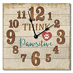 Think Pawsitive 12 Rustic Antique Wall Clock Made in USA from Reclaimed Wood Slats