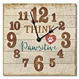 Think Pawsitive 12″ Rustic Antique Wall Clock Made in USA from Reclaimed Wood Slats Review