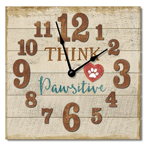 Think Pawsitive 12 inch Clock - Made in the USA -Slatted Reclaimed Wood