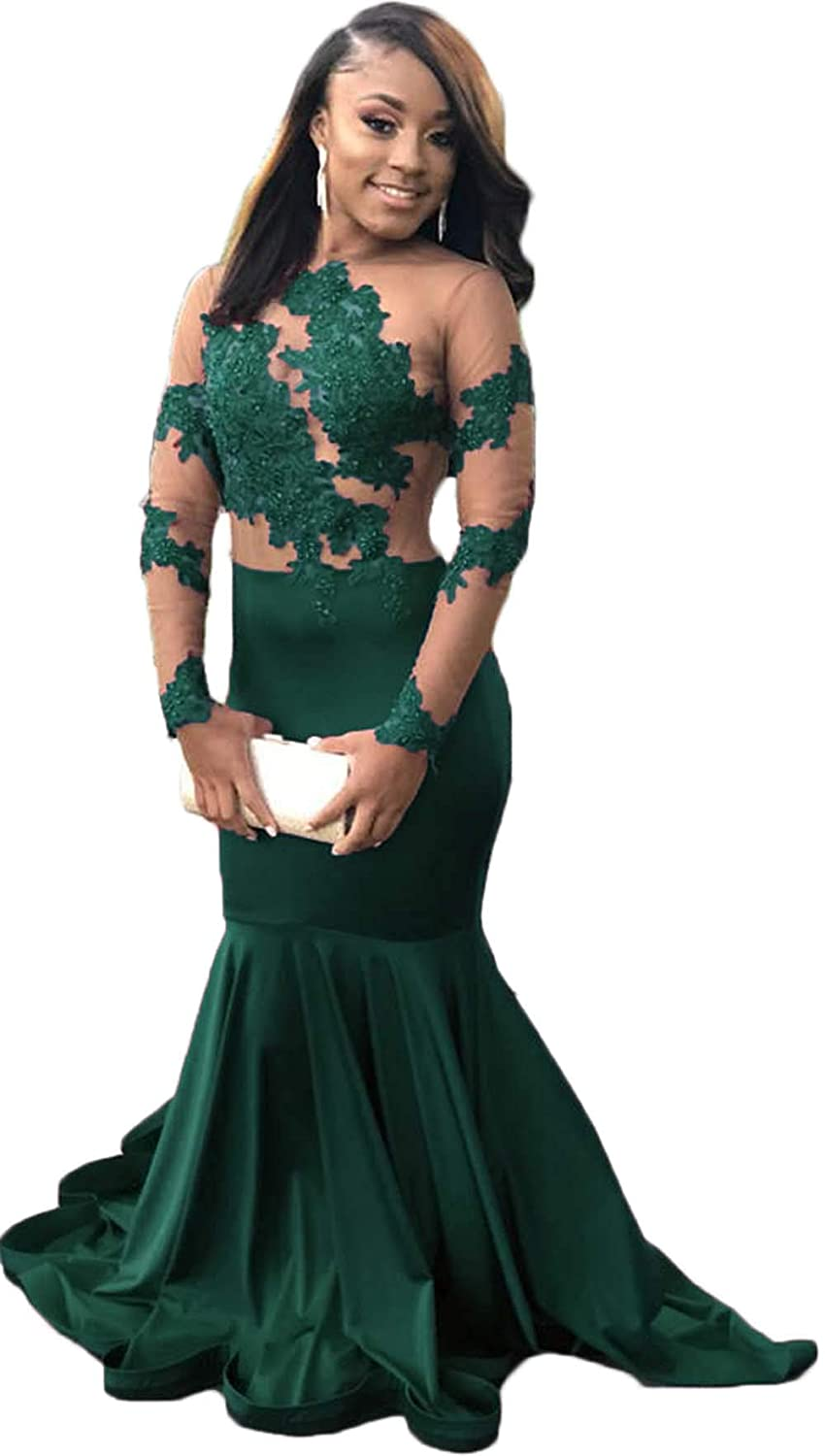 Wgreen Ri Yun Sexy Illusions Long Sleeve Lace Prom Dresses Mermaid 2019 Beaded Appliques Formal Evening Ball Gowns