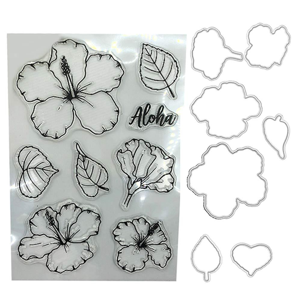 Chuxioner Tampons transparents en silicone pour fabrication de cartes et scrapbooking Motif fleurs