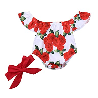 96d89baa6fbb Amazon.com  Lurryly Baby Girls Off Shoulder Fly Sleeve Floral Tops+Headband Romper  Jumpsuit 0-24 M  Clothing