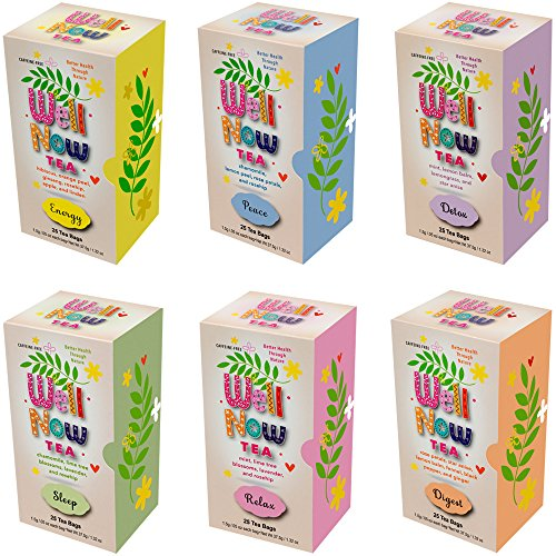 Energy Gift Set - Premium Caffeine Free Herbal Soothing Tea Gift Set Bulk Variety Assortment Box Detox Digest Energy Peace Relax and Sleep 150 Tea Bag Count (6 Pack)