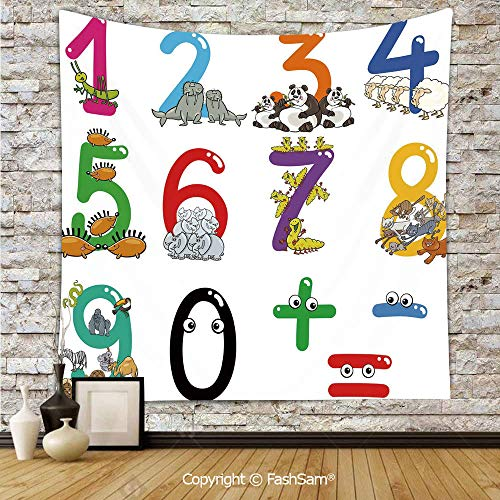 FashSam Tapestry Wall Hanging Numbers from Zero to Nine with Zoo Animals Happy Fun Preschool Decorative Tapestries Dorm Living Room Bedroom(W51xL59)]()