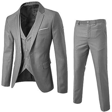 Gusspower Modisch Slim Fit Herren 3 Teilig Anzug Vintage Grau Design