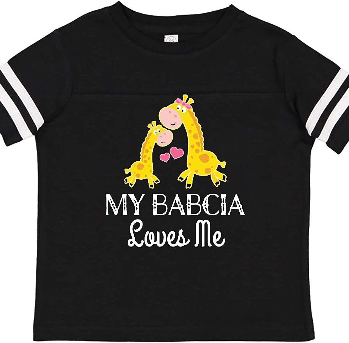 inktastic Babcia Loves Me Girls Giraffe Granddaughter Toddler T-Shirt
