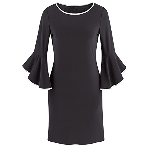 Catalog Classics Womens Bailey Ruffle Sleeve Dress Black Gown