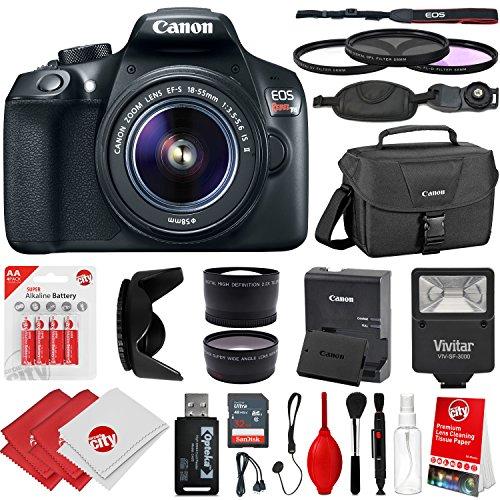 Canon EOS Rebel T6 18MP DSLR Camera w/18-55mm STM + .43x + 2
