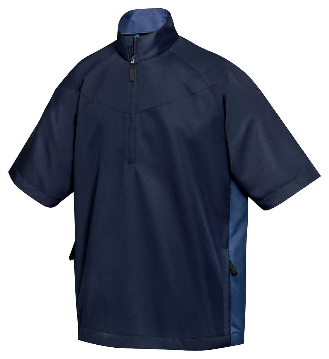 Tri-Mountain All Season Half Zip Short Sleeve Windshirt - 2610 Icon, NAVY/MOUNTAIN BLUE, X-Large
