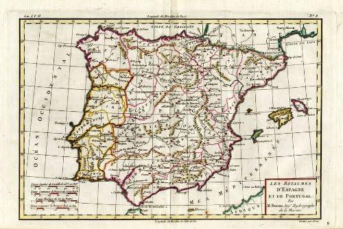 ThePrintsCollector de mapamundi antiguo-España-Portugal-Mallorca-la pantalla anterior-bonne-1780: Amazon.es: Hogar
