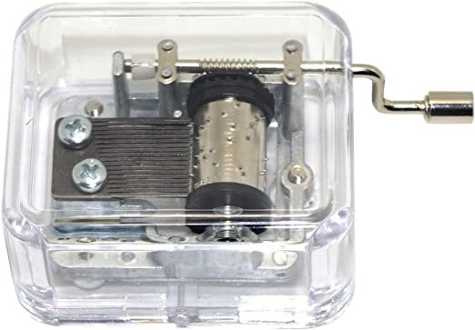 Melody Lullaby Crank Music Box,18-Note Crank Music Box Mini Acrylic+Metal HandCrank Music Box Music Box for Children