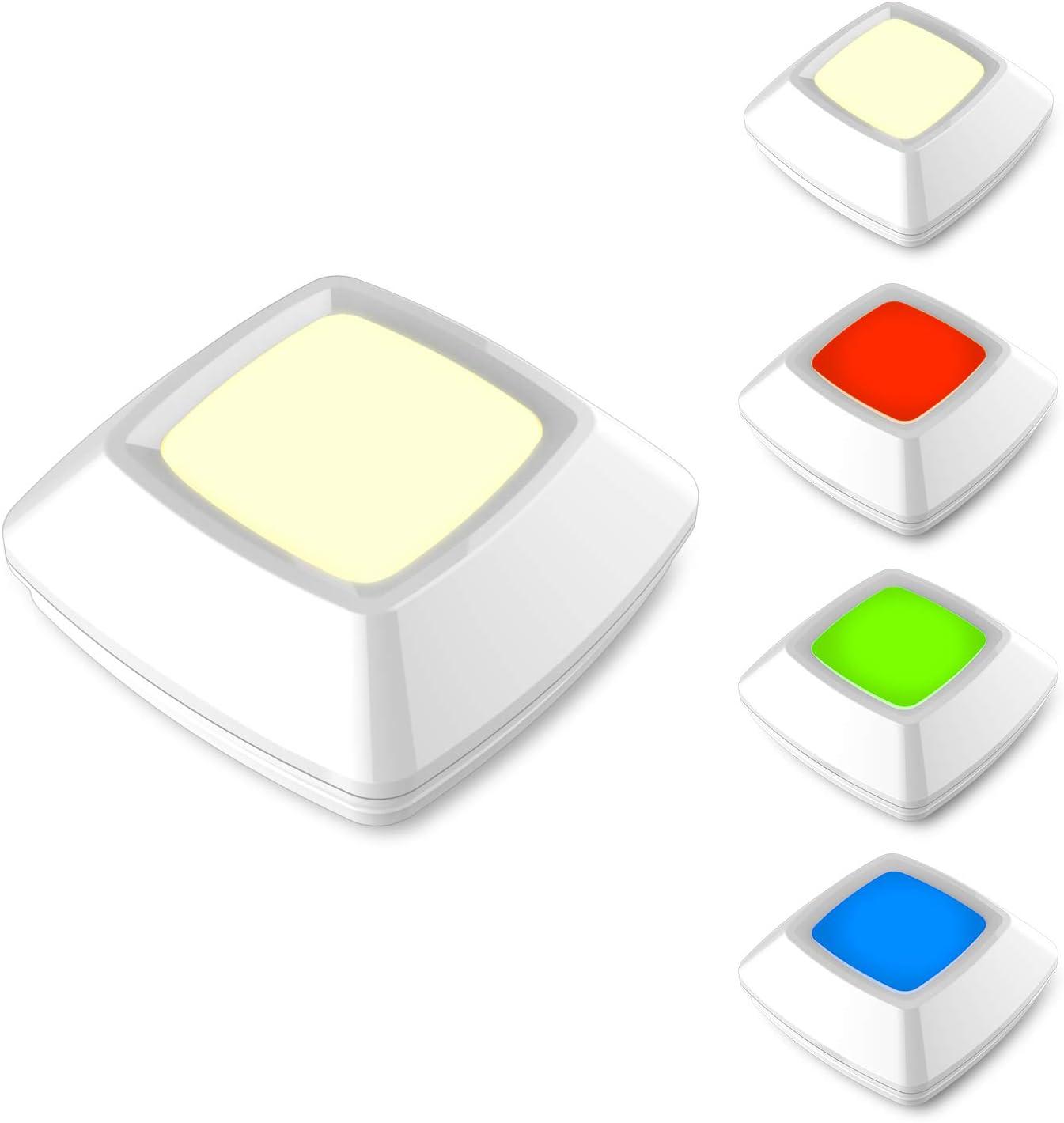 HONWELL Puck Lights LED Closet Light Wireless Push Button Light Battery Powered Halloween Pumpkin Light Color Changing Tap Lights, Click Touch Lights, Stick Counter Cabinet Shelf Press Lights 5Pack