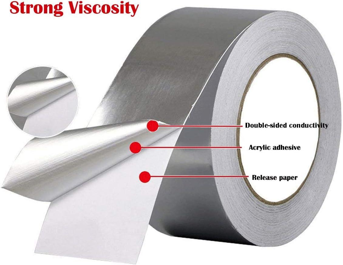 alta temperatura resistente al calor rollos de cinta adhesiva para HVAC Reparaci/ón Doble cara conductiva 50 m Cinta de aluminio bisuter/ía y manualidades secadores conductos aislamiento