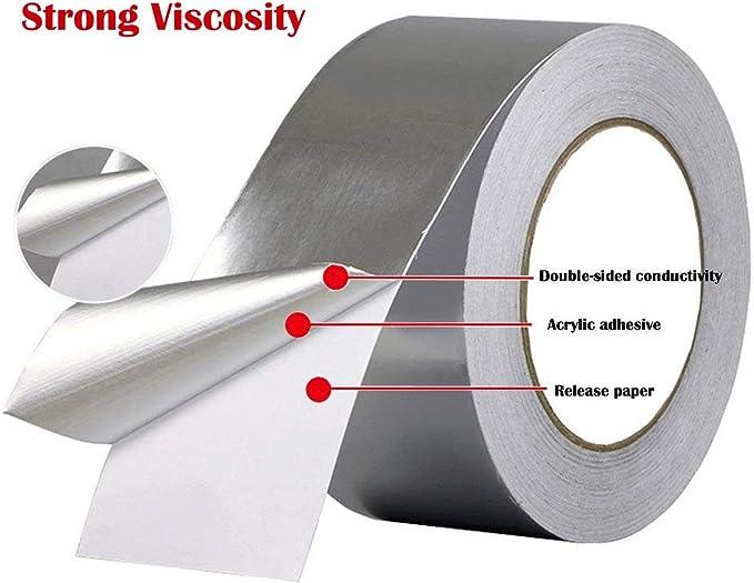 BE-TOOL Cinta de aluminio alta temperatura resistente al calor rollos de cinta para reparaci/ón de HVAC fabricaci/ón de joyer/ía y manualidades secadores plateado Conductiva conductos