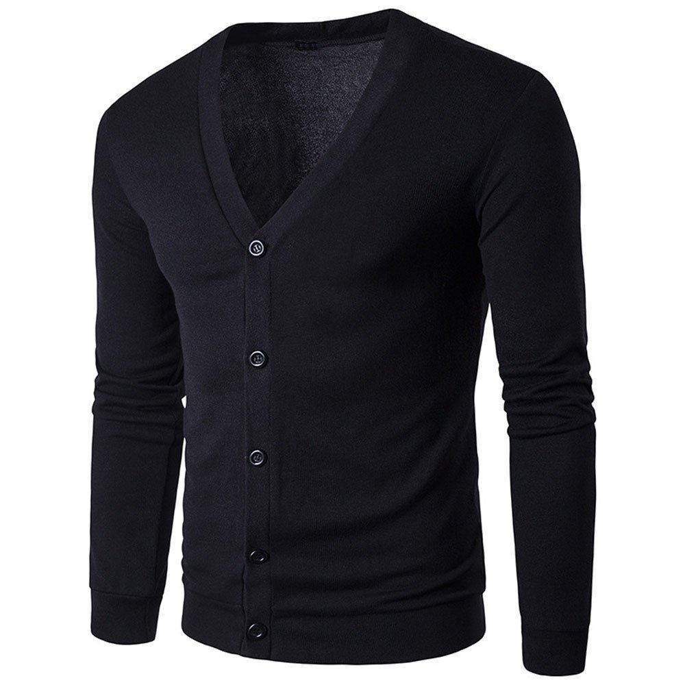 FriendG Men Solid Color Cotton Button V Neck Long Sleeve Knited Sweater Cardigan Spring Autumn Casual Outwear