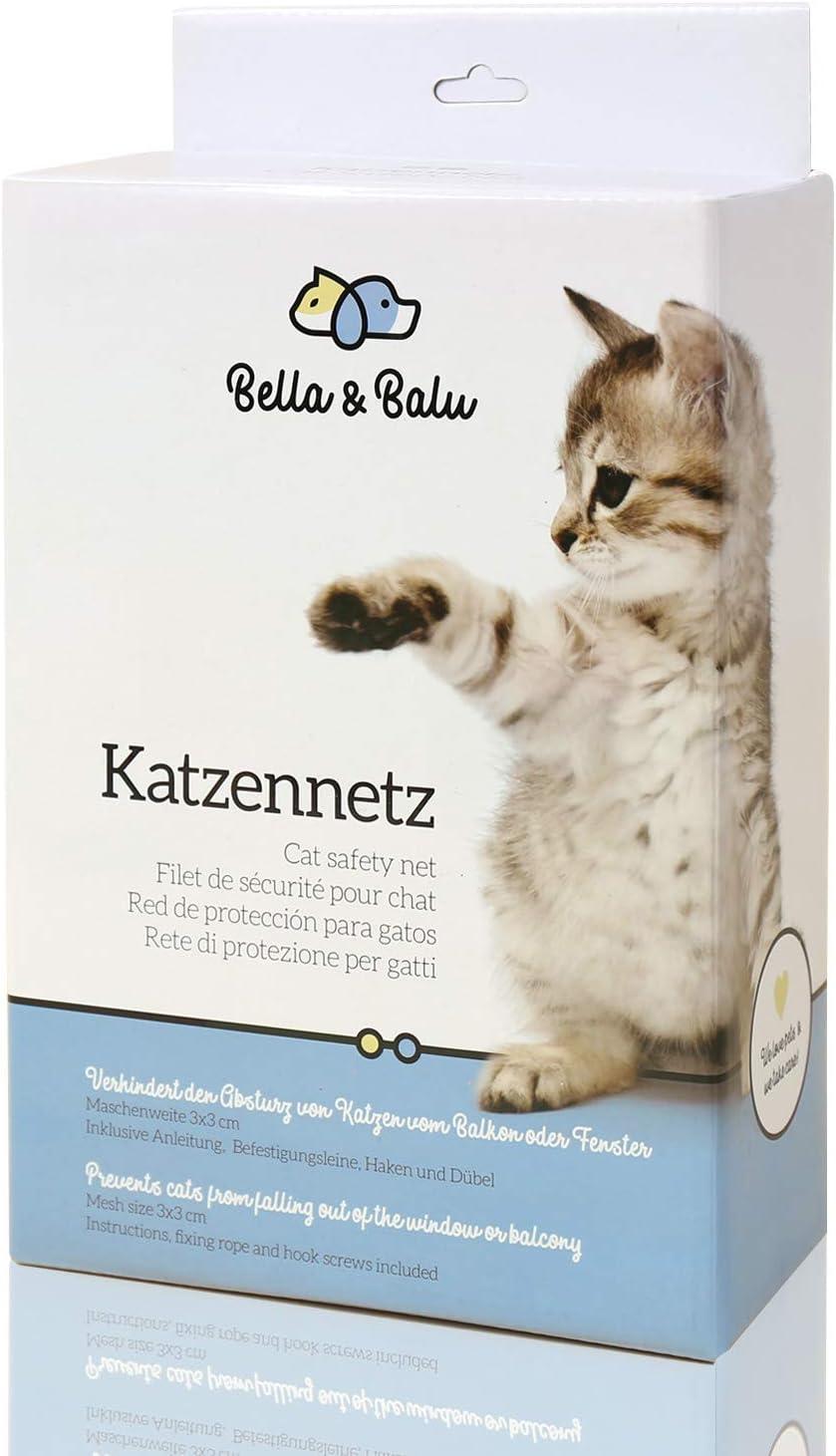 Bella & Balu Red para Gatos (Transparente | 4 x 3) Incl. Gancho, Tacos, Cuerda e Instrucciones. Red de protección para Gato Transparente para Balcones, terrazas, Ventanas y Puertas