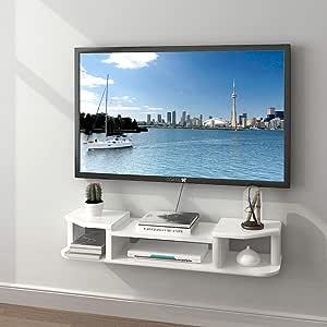 ZPWSNH Mueble de TV de Pared Fondo de Pared Estante de Almacenamiento Estante Abierto cajón Estante Flotante con DVD Caja de TV por satélite Caja de Cable Mueble para TV de Pared: