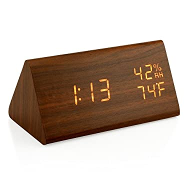 Oct17 Wooden Alarm Clock, Wood LED Digital Desk Clock, UPGRADED With Time Temperature, Adjustable Brightness, 3 Set of Alarm and Voice Control, Humidity Displaying - Brown