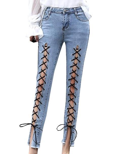 e10da5346c98 Howme Women Elastic Middle Waist Lace up Detail Split Slim Denim Pants at  Amazon Women's Jeans store