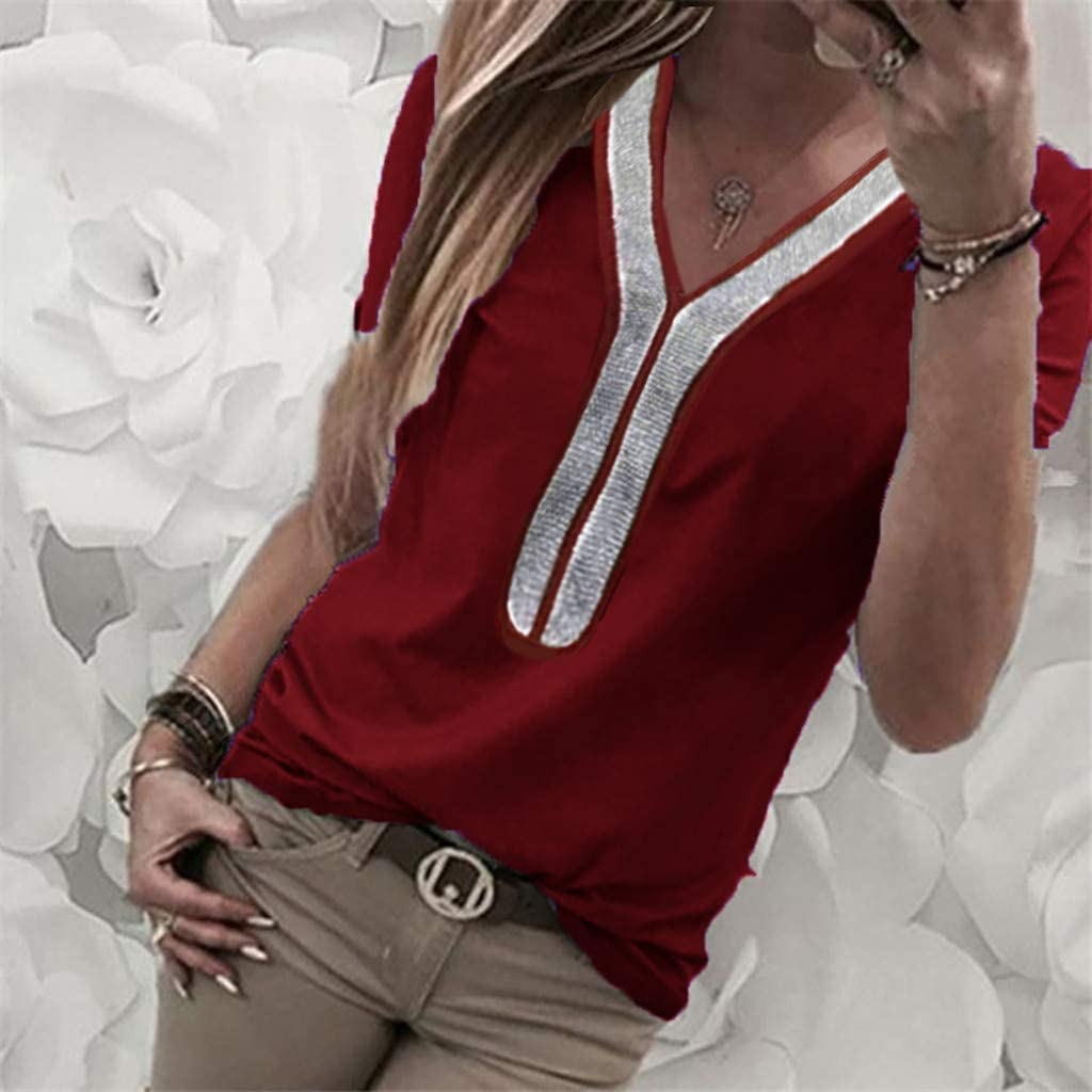 VEMOW Camisetas Moda Mujer Casual Lentejuelas de Manga Corta con Cuello en v Tops Blusa Casual Camiseta