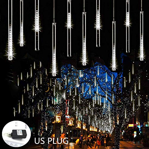Weepong Rain Drop Lights 30cm 8 Tubes 144 LED Meteor Shower Lights UL Listed Falling Rain Lights Outdoor Icicle Snow Cascading Christmas String Lights for Tree Wedding Party Garden Decoration, White (Cascading Tree Christmas)