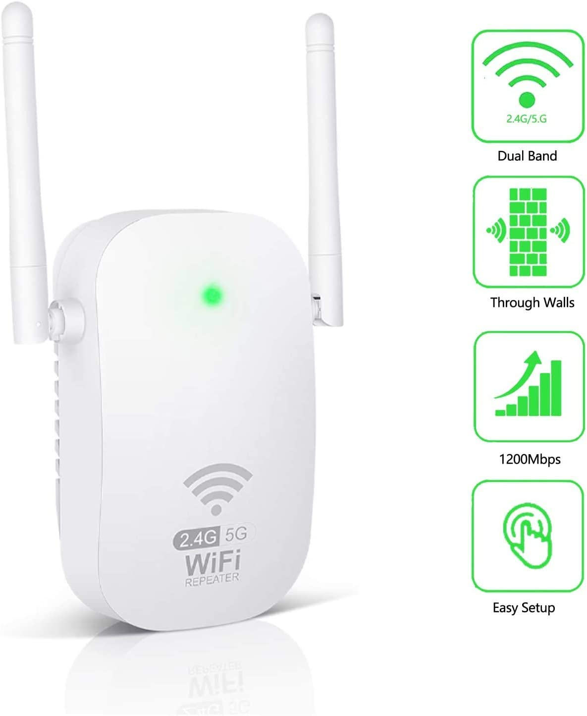 WiFi Range Extender 1200Mbps WiFi Repeater Booster AC1200 for The Hourse, 2.4 & 5GHz Dual Band WPS Wireless Signal Strong Penetrability, Wide Range of Signals(2000FT), Enjoy Gaming
