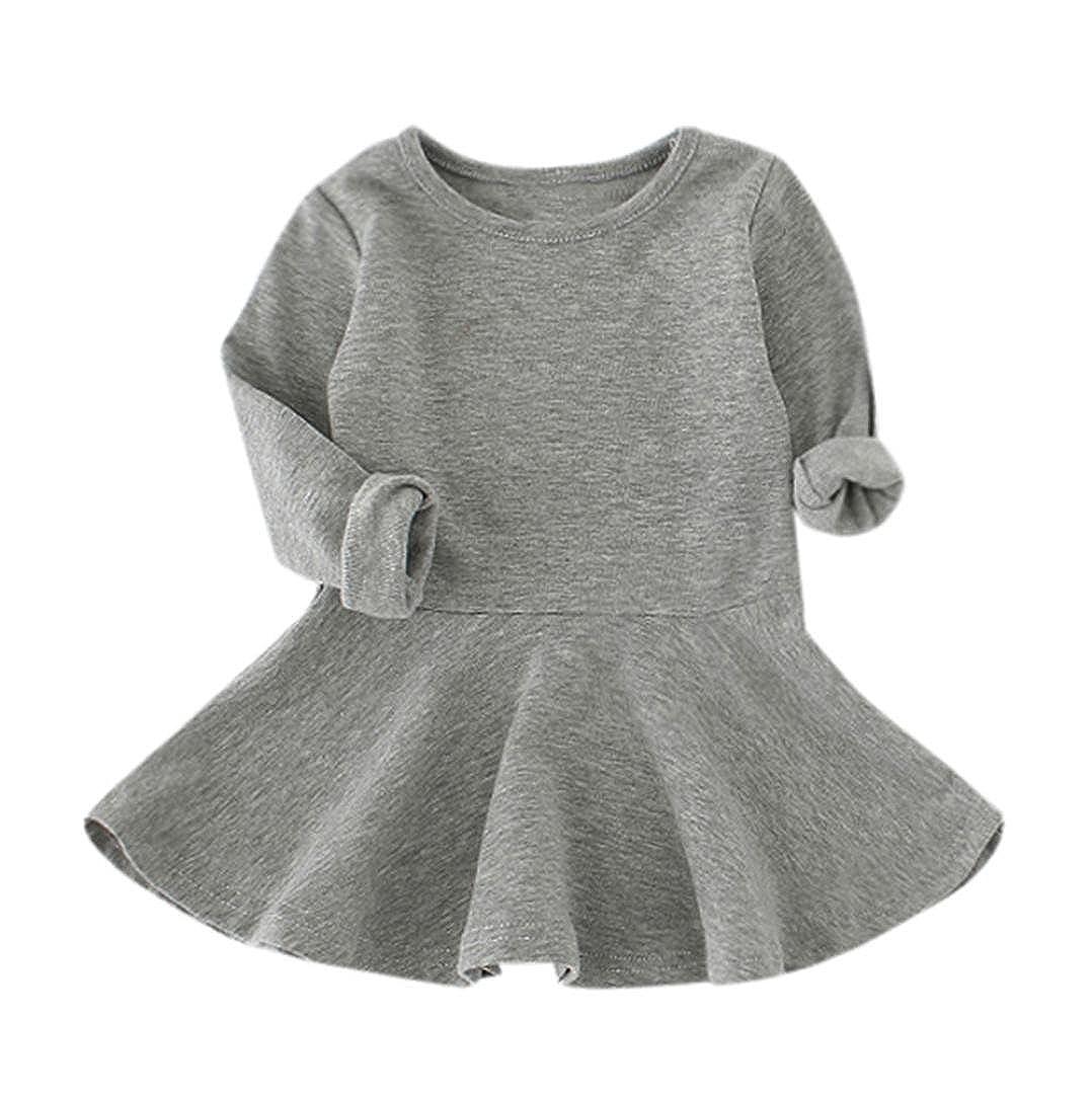 Bambina Vestito Candy Colore Jimmackey Lungo Manica Solida Plissettato Principessa Tutu Abito