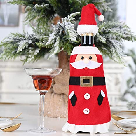 Red Wine Bottle Cover Bags Christmas Dinner Table Home Party Santa Claus Decors