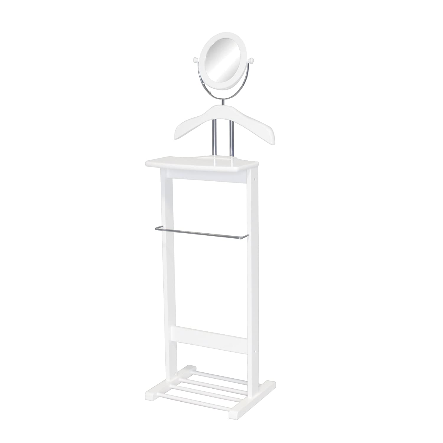 Proman Products Trojan 360 Degrees Vertical and Horizontal Swivel Mirror and Shoe Rack in White Valet VL17012