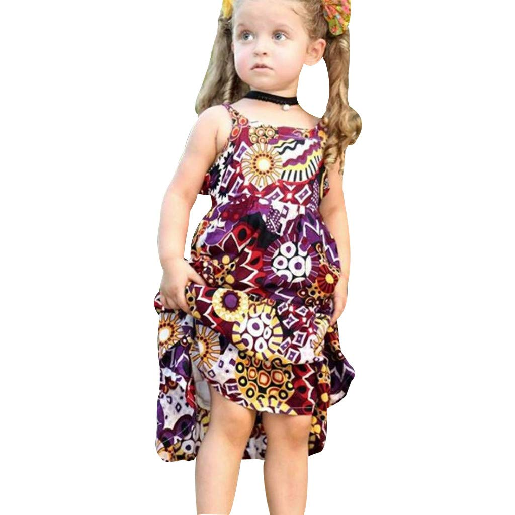 6df80641fe5 Amazon.com  Dsood Baby Girl Clothes Bohemian Short Sleeveless Flower  Princess Floral Dress A-line Formal Kids Summer Dress Skirt  Clothing