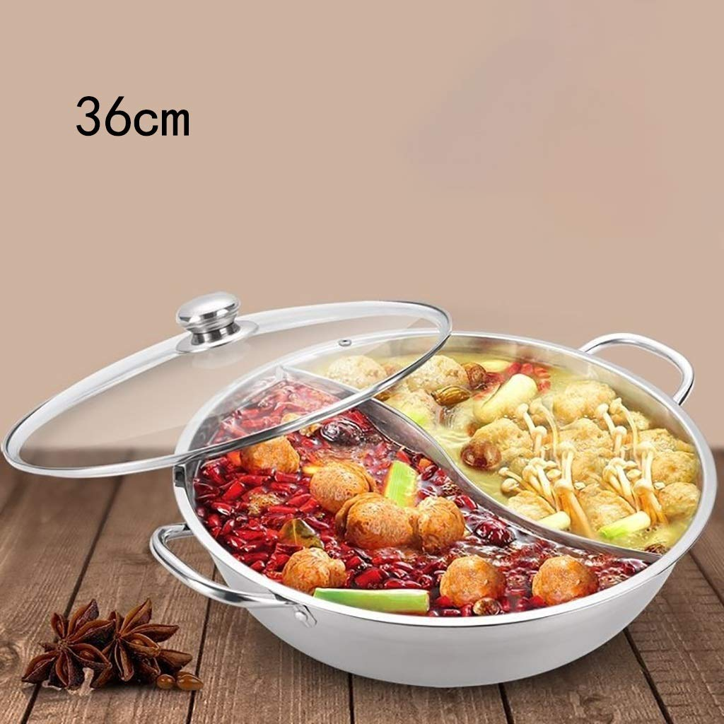 Stainless Steel Crucible Thickened Broth Pot Pot Octagonal Pot Commercial Hot Pot Pot Gas Stove Induction Cooker Special Pot, Pot With Separator Paper, Suitable For Electromagnetic Heating Element Gas by Hot Pot