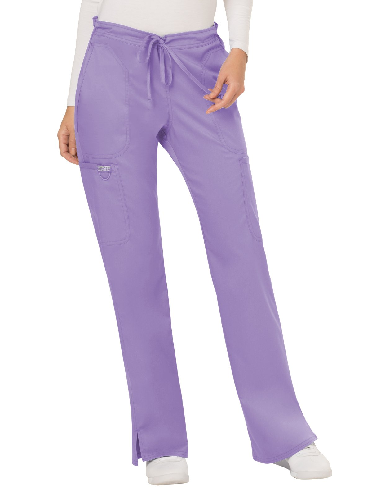 Cherokee WW Revolution WW120 Mid Rise Drawstring Cargo Pant Oh So Orchid S by Cherokee