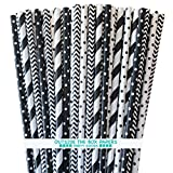Outside the Box Papers Black and White Stripe and Polka Dot Paper Drinking Straws 7.75 Inches 100 Pack Black, White
