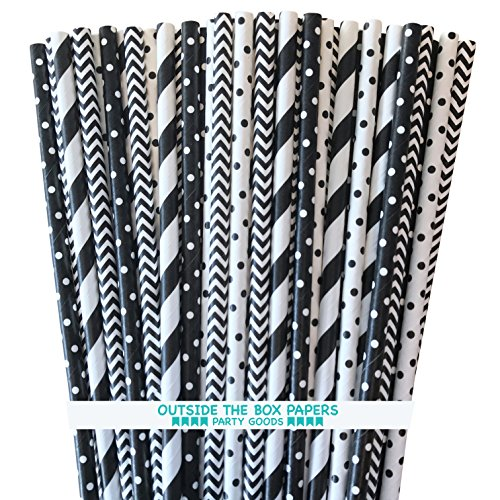 Outside the Box Papers Black and White Stripe and Polka Dot Paper Drinking Straws 7.75 Inches 100 Pack Black, White ()
