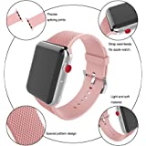 Blueauty for Apple Watch Band 42mm Carbon Fiber iwatch Band Replacement Strap with Stainless Metal Clasp for Apple Watch Series 3 Series 2 Series 1 - Pink