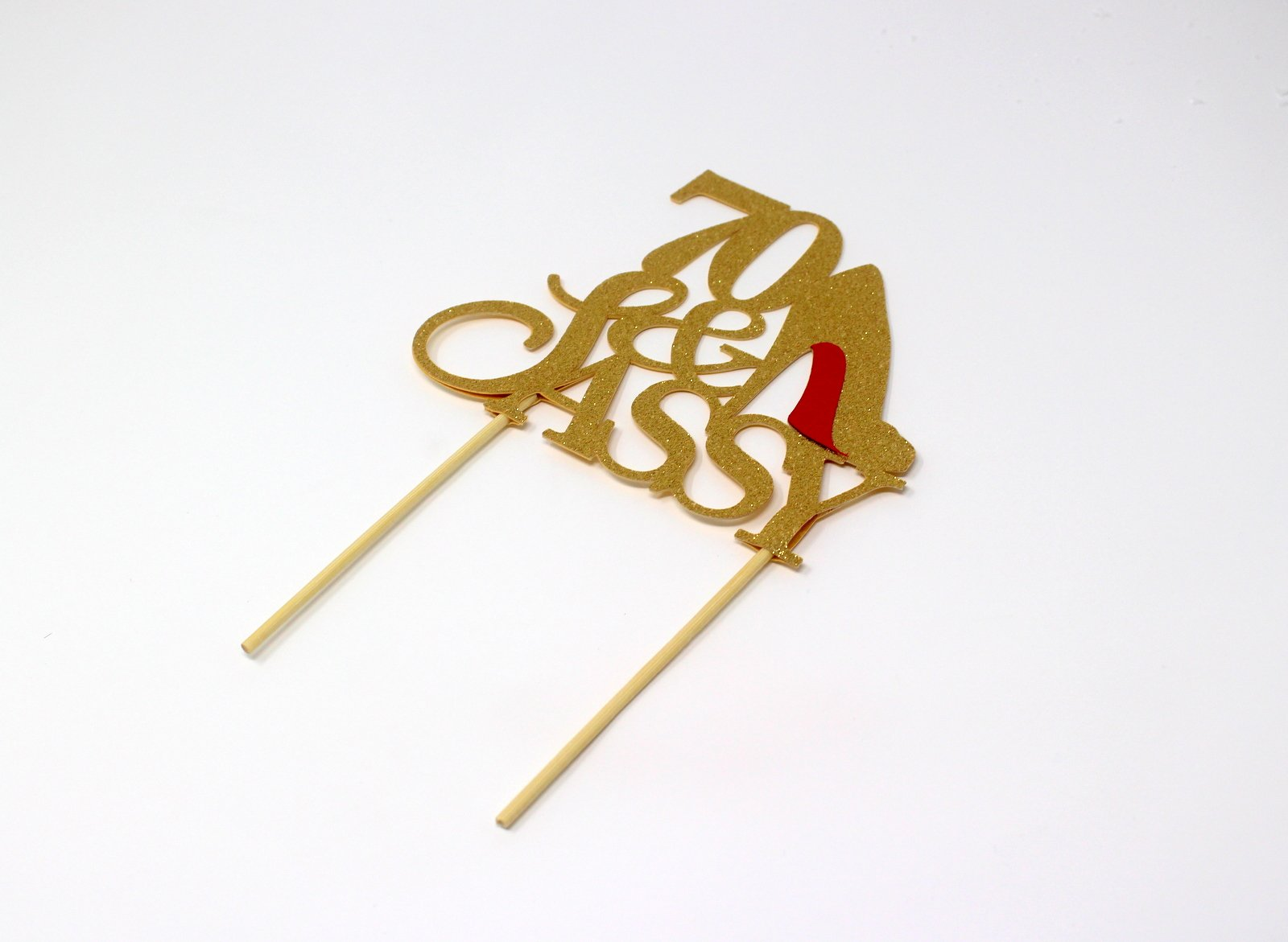 All About Details CAT70SAGOL 70 & Sassy Cake Topper (Gold), 6in wide and 5in tall with 2-pcs of 4in wood skewers by All About Details (Image #2)