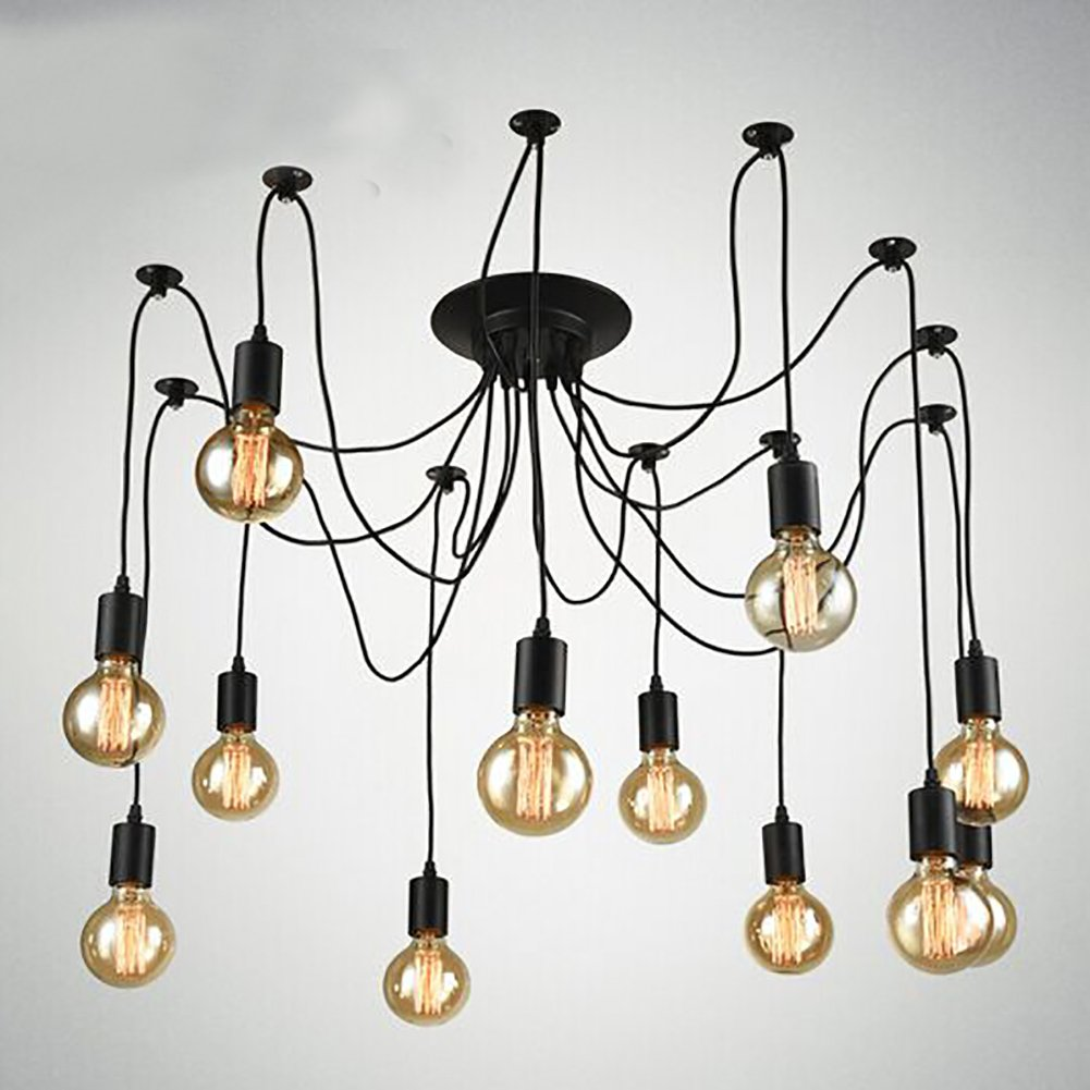 Navimc black vintage industrial pendant light fixtures home ceiling light chandeliers lighting edsion style 12 lampholders amazon com