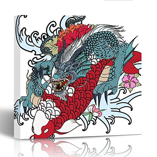 Emvency Painting Canvas Print Wooden Frame Dragon and Koi Fish with Flower Tattoo for Arm Japanese Carp Line Drawing 12x12 Inches Wall Art ()