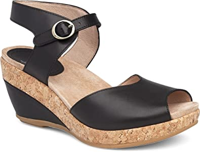 777104bee42 Dansko New Women s Charlotte Wedge Sandal Black Full Grain 36
