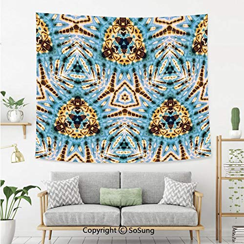 8' Wool Purse - Tie Dye Decor Wall Tapestry,Tribal Stylized Trippy Shapes with Dirt Grungy Paint Reflections Artisan Print,Bedroom Living Room Dorm Wall Hanging,92X70 Inches,Blue Gold