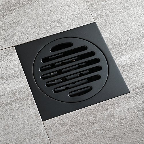 Tile Insert Square Shower Floor Drain 4-Inch Pure Cupper Black Grate Strainer With Removable Cover, Anti-Clogging For Kitchen Bathroom Washroom Garage Basement by YJZ (Image #4)